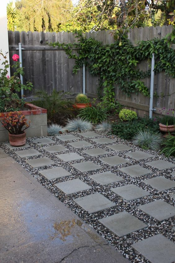 Stone Pavers With Pea Gravel.