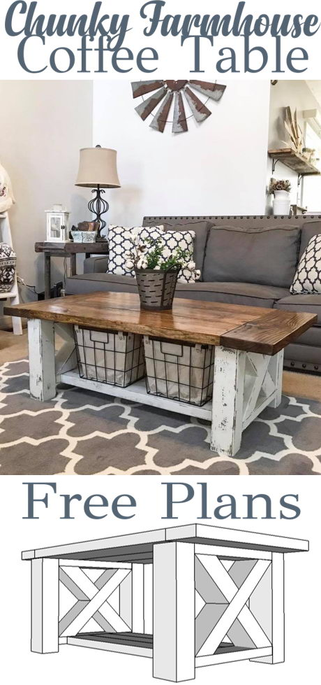 DIY Chunky Farmhouse Coffee Table.