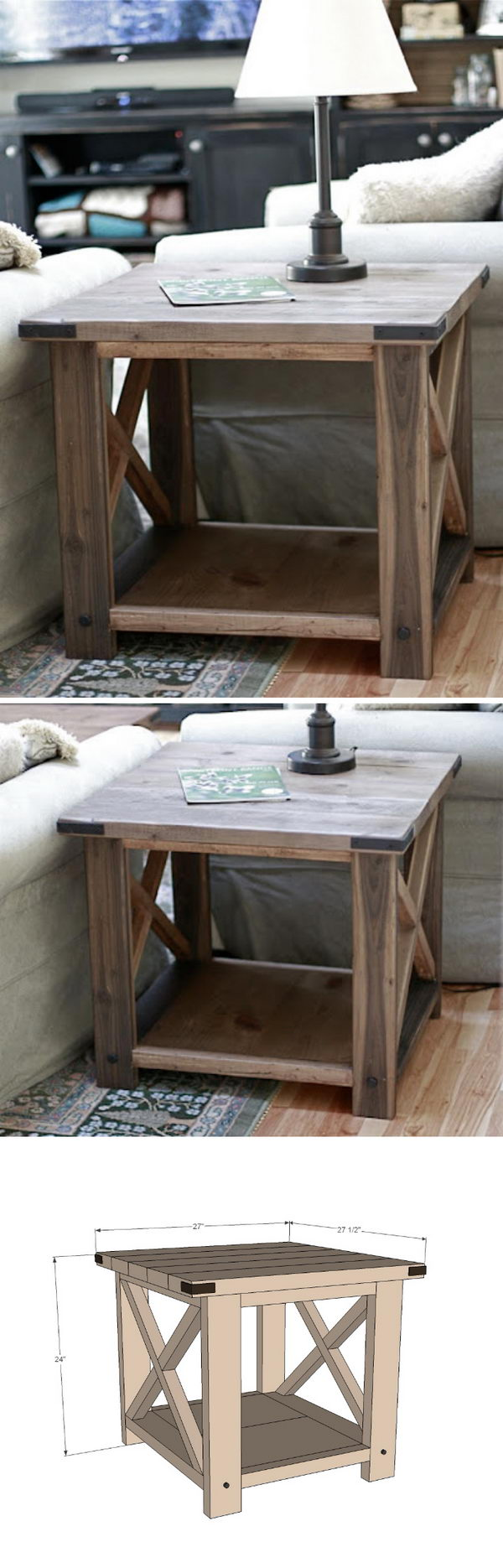 Rustic X End Table.