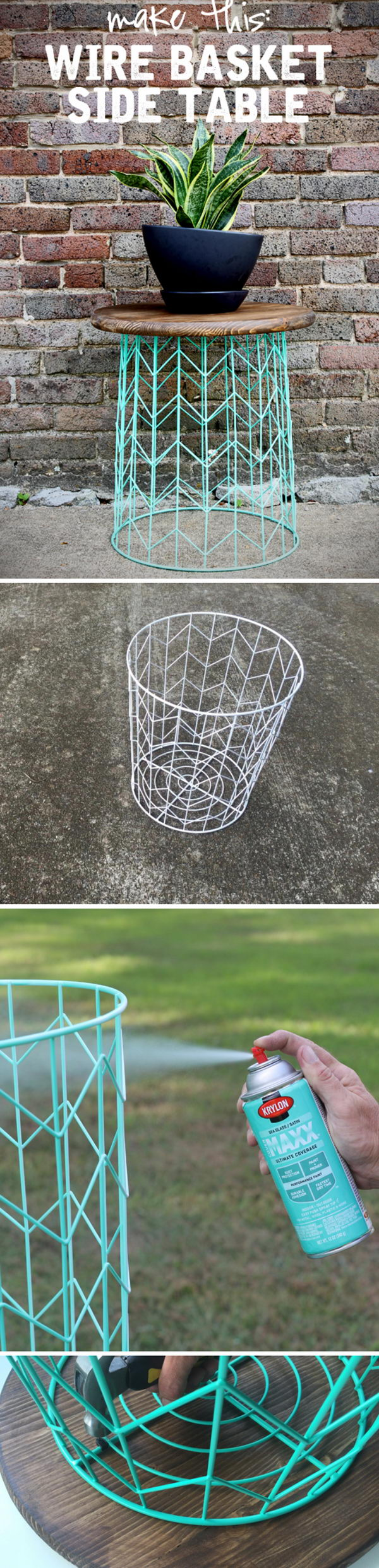 Wire Basket Side Table.