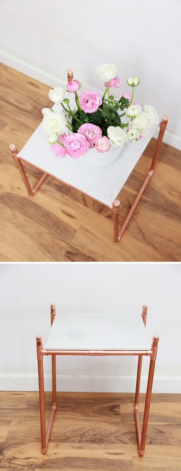 DIY Copper Pipe Marble Plant Stand.