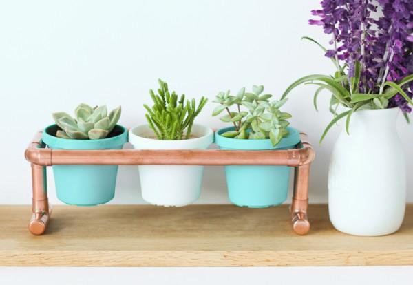 DIY Copper Pipe Pot Plant Holder.