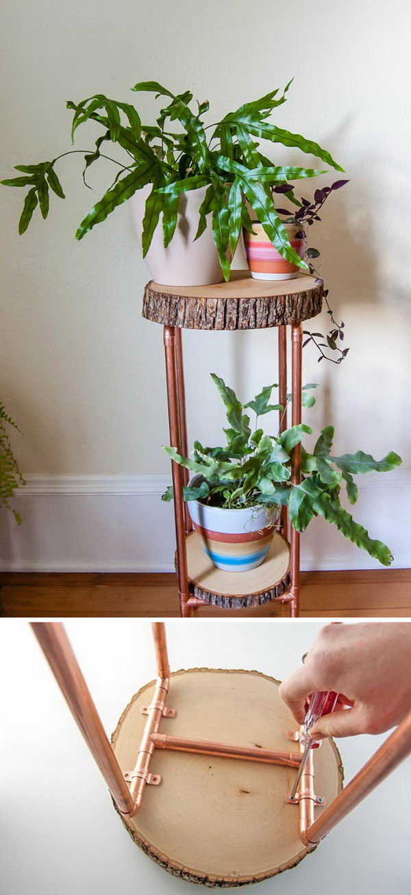 DIY Copper Pipe And Wood Slice Plant Stand.
