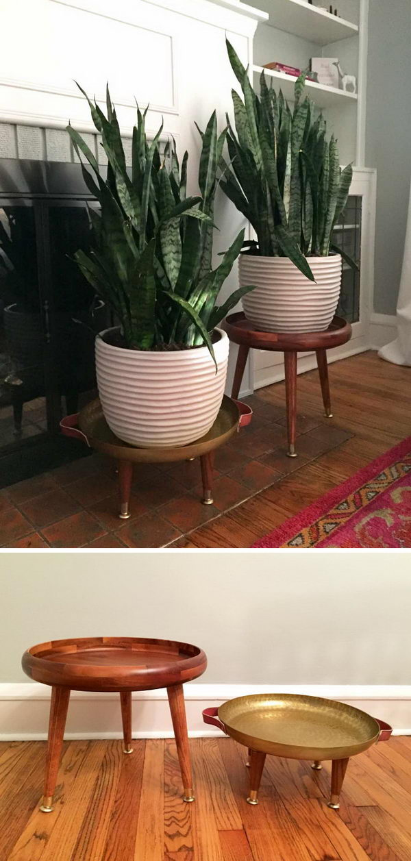 DIY Mid Century Plant Stands.