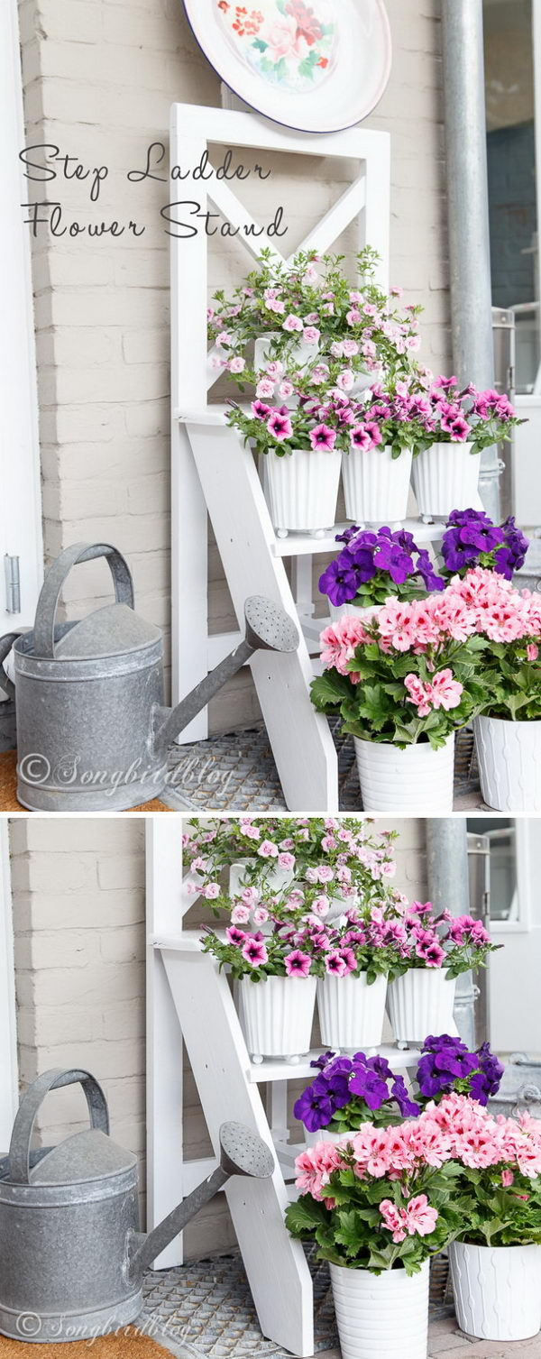 DIY Step Ladder Plant Stand.