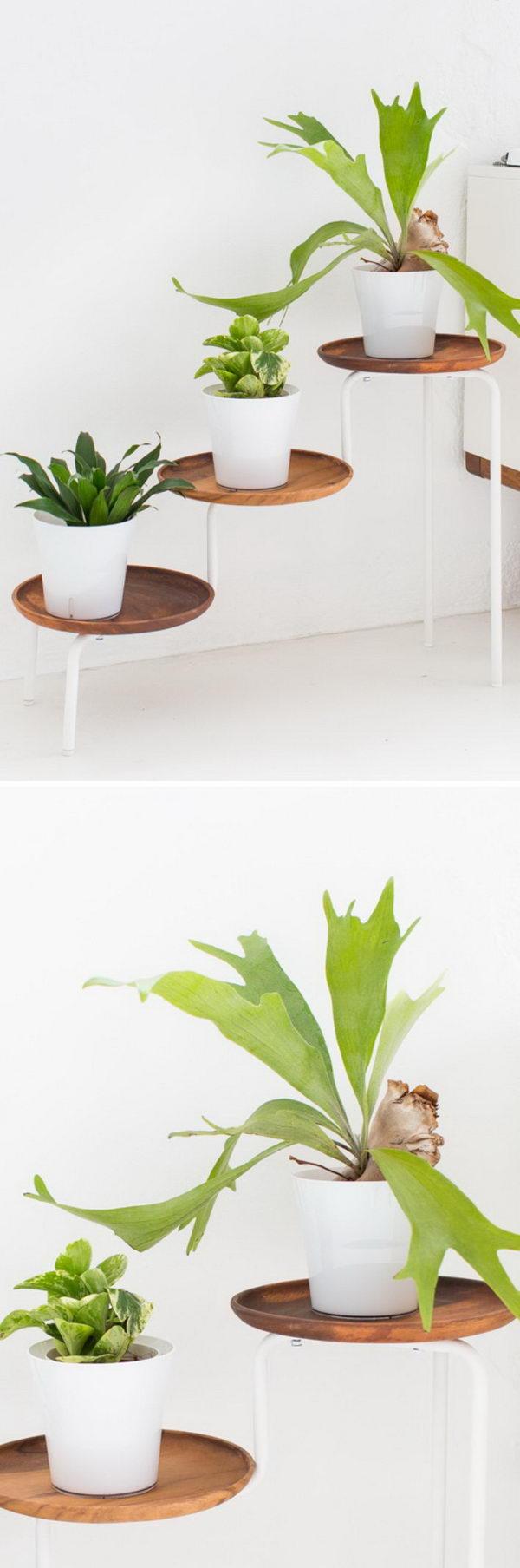 DIY Acacia Wood Plant Stand.