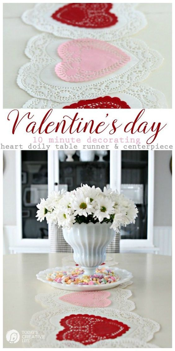 Heart Shape Doily Table Runner.