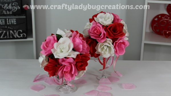 Dollar store Gorgeous Valentine's Day Flower Arrangement.
