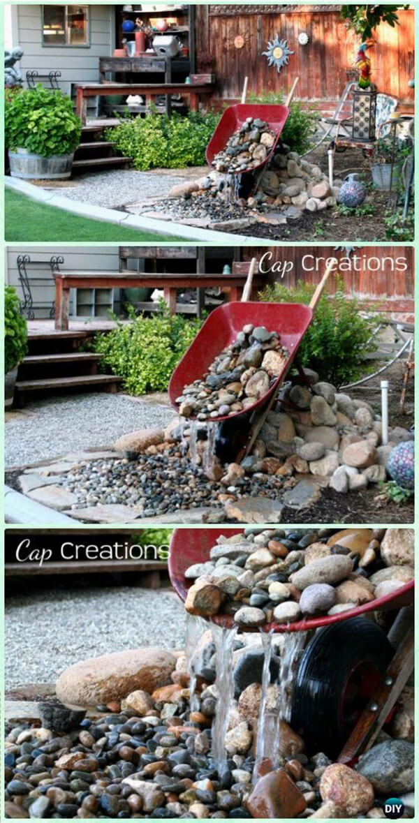 DIY Wheelbarrow Waterfall.