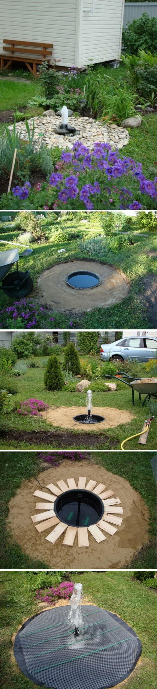 DIY Buried Bubbler Dry Fountain.