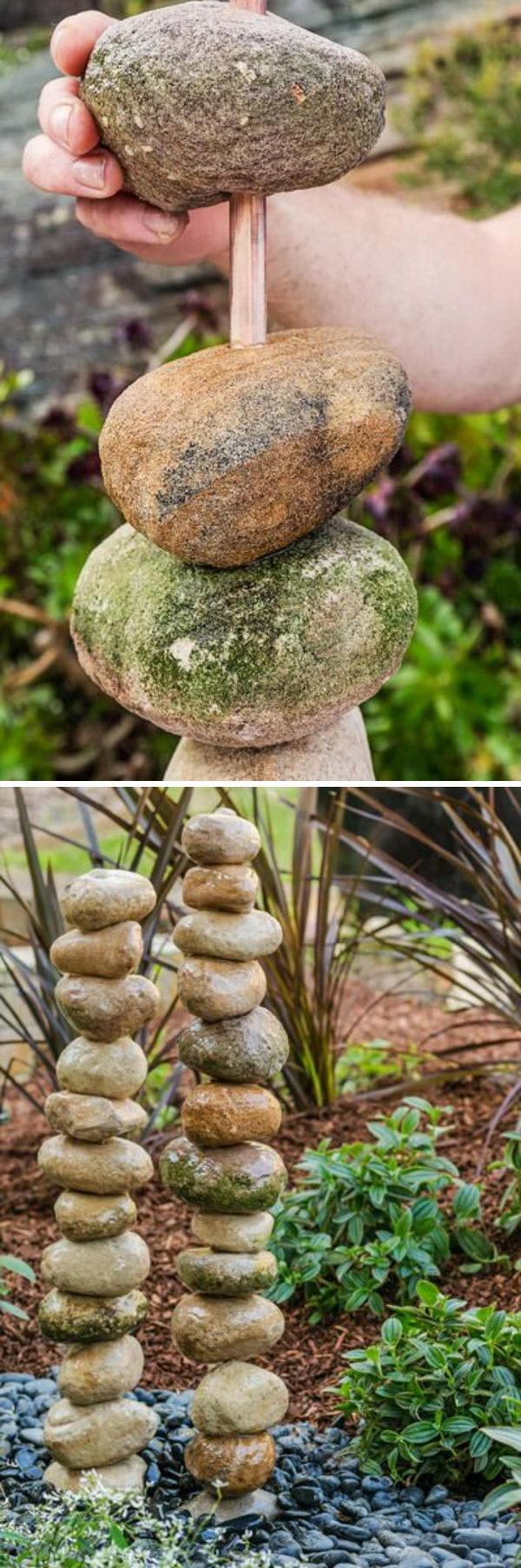 DIY Stacked Rocks Water Feature.