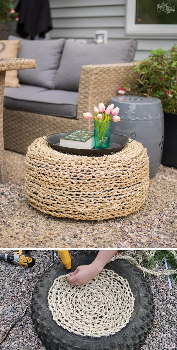 DIY Recycled Tire Ottoman.