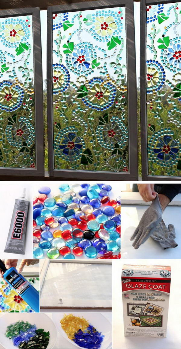 Easy Stained Glass Window Using Glass Floral Marbles.