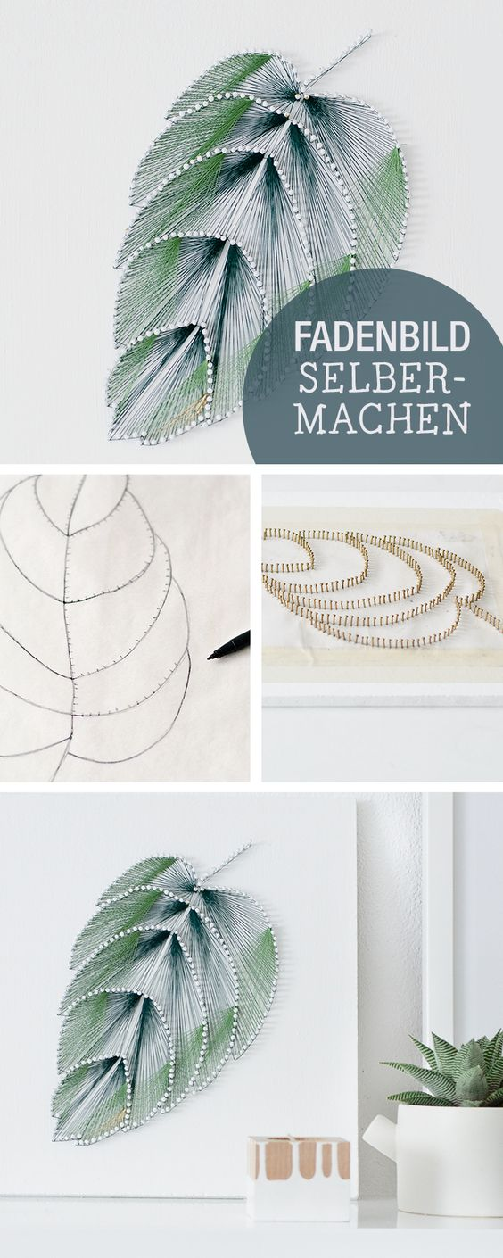 DIY Thread Leaf Wall Art..