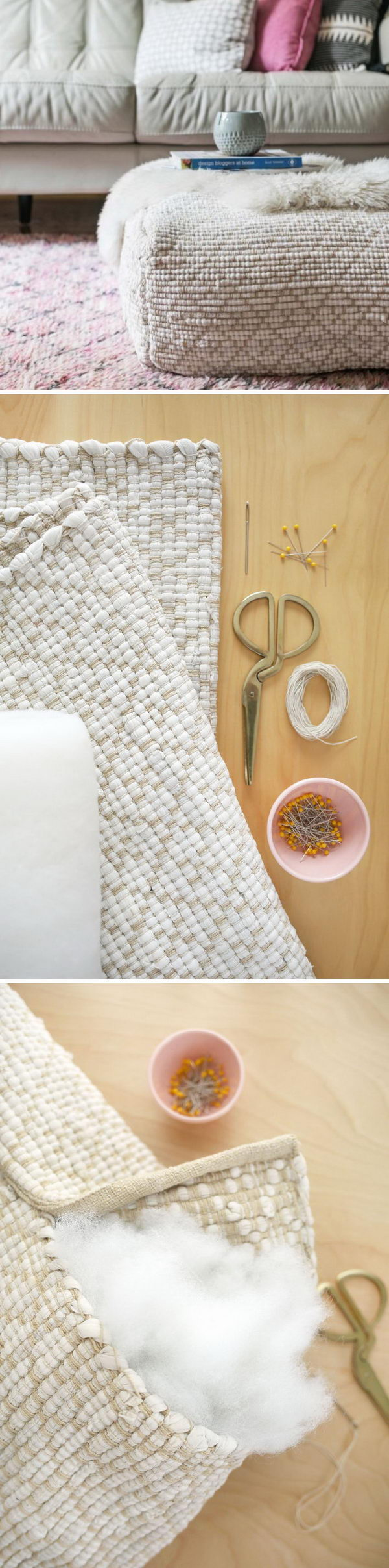DIY Floor Pouf From Existing Rugs.