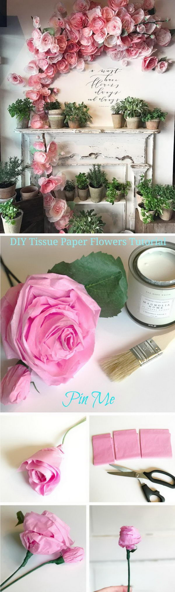 DIY Tissue Paper Flowers Wall Arrangement.