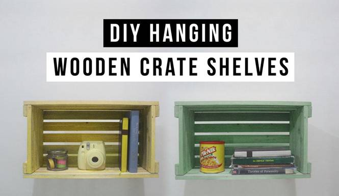 DIY Hanging Shelves Made of Recycled Wooden Crates.