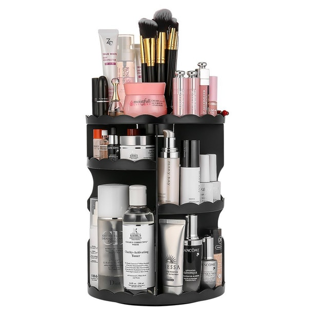 This Rotating Makeup Tray To Increase Vanity Space.