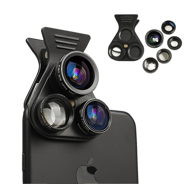 This Detachable Phone Lens For Fish Eye, Wide Angle, and Macro Photos .