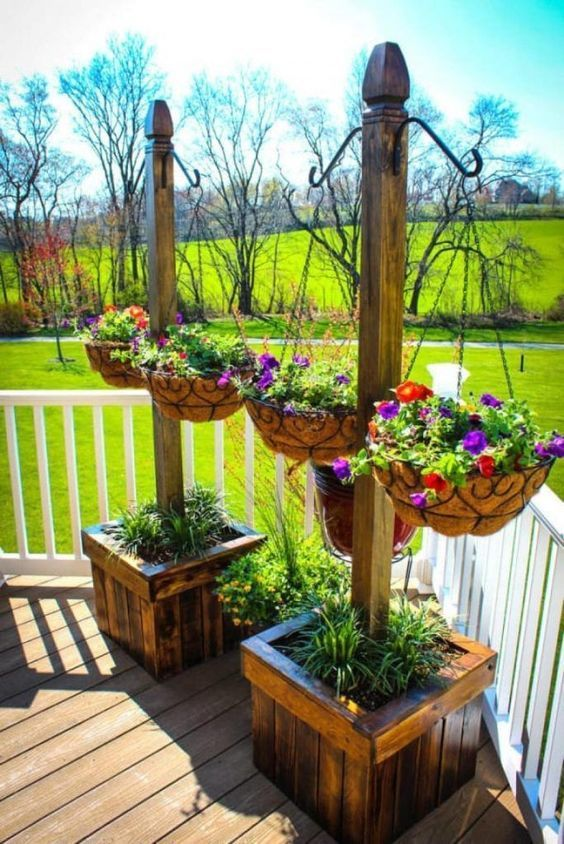 Elegant Wooden Hanging Flower Garden and Plant Box.