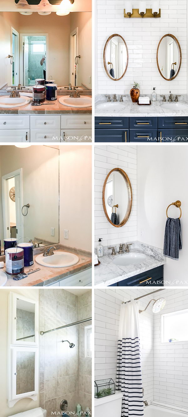Navy and White Bathroom Makeover.
