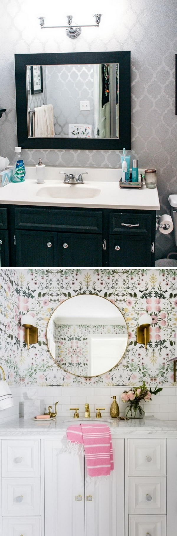 Grey to Gorgeous Glam Bathroom Makeover.