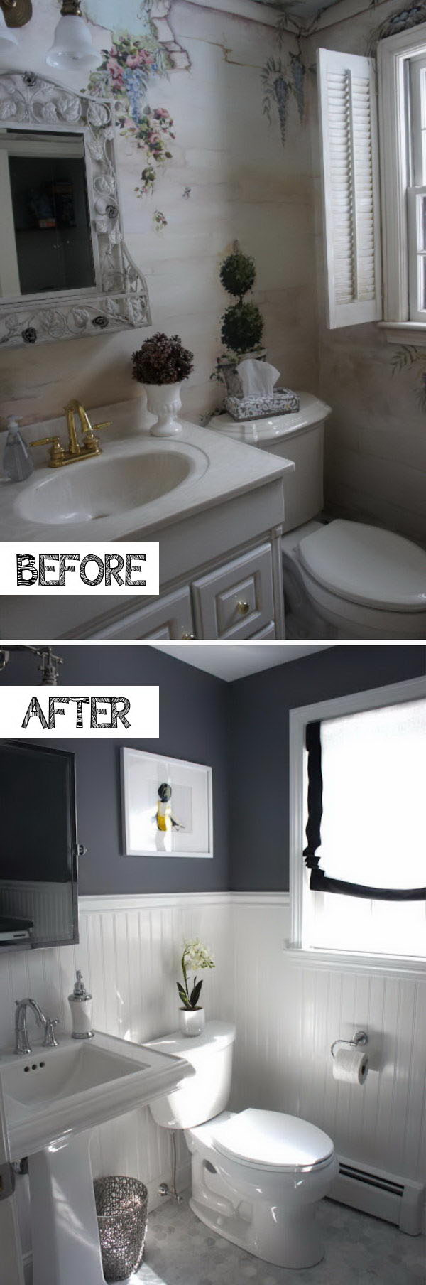 Get The Dash of Drama Without Darkness By Painting The Upper Portion Of The Wall Black, And Other Surfaces Left White.