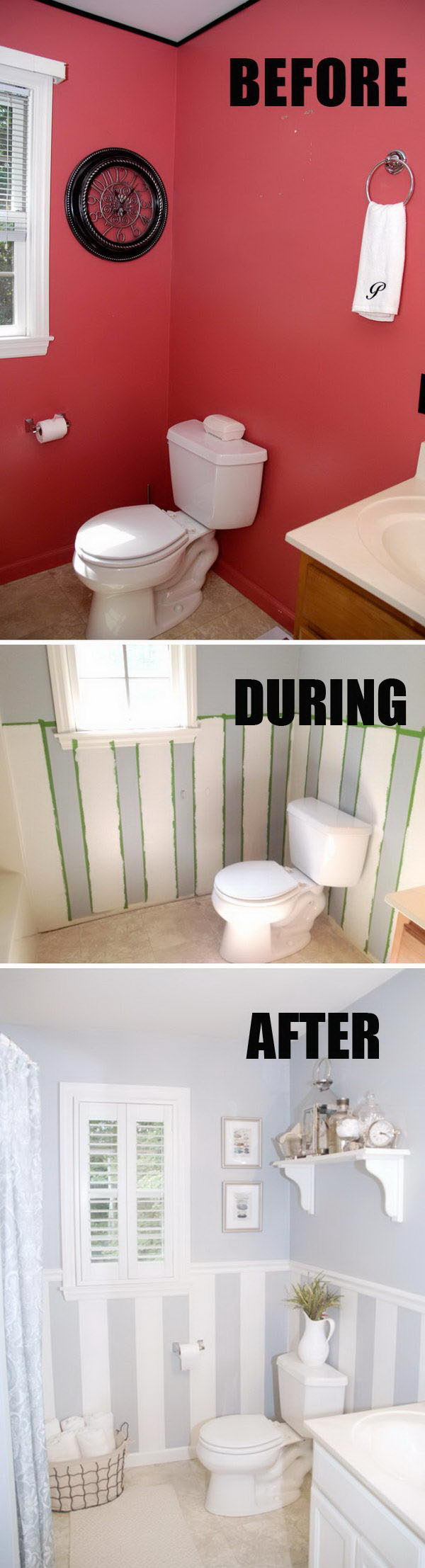 Painted Bathroom Makeover With DIY Wall Stripes.
