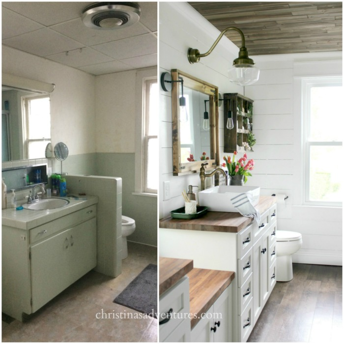 Vintage Inspired Farmhouse Bathroom Makeover.