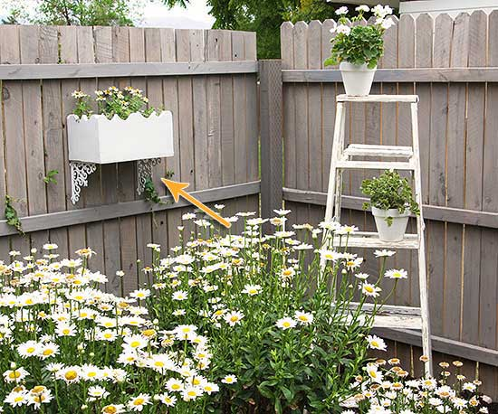 Spice up a boring garden corner by adding a planter to the fence using shelf brackets.