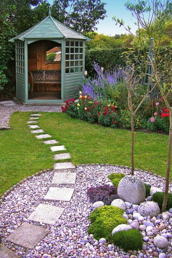 Garden Shed With Beautiful Stone Section And Perfectly Laid Out Path  .