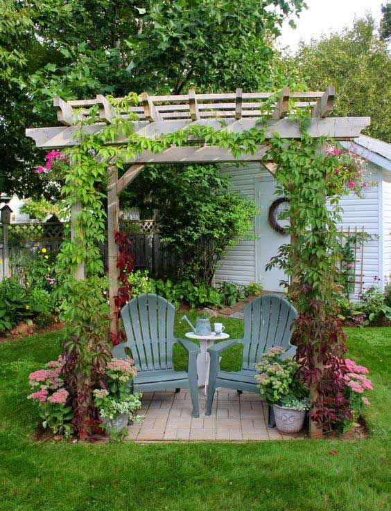 Backyard Seating Area With Small But Pretty Pergola .