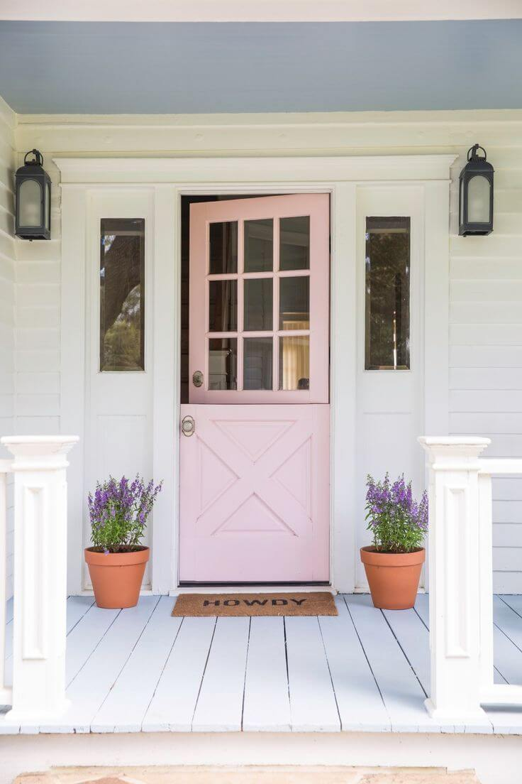 Pretty In Pink Front Door With Lavender Pots.