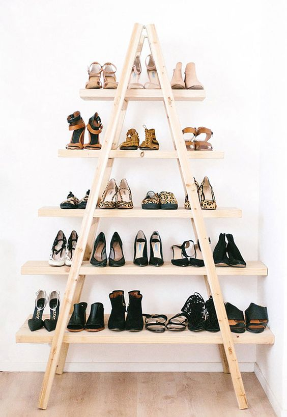 DIY ladder shoe rack.