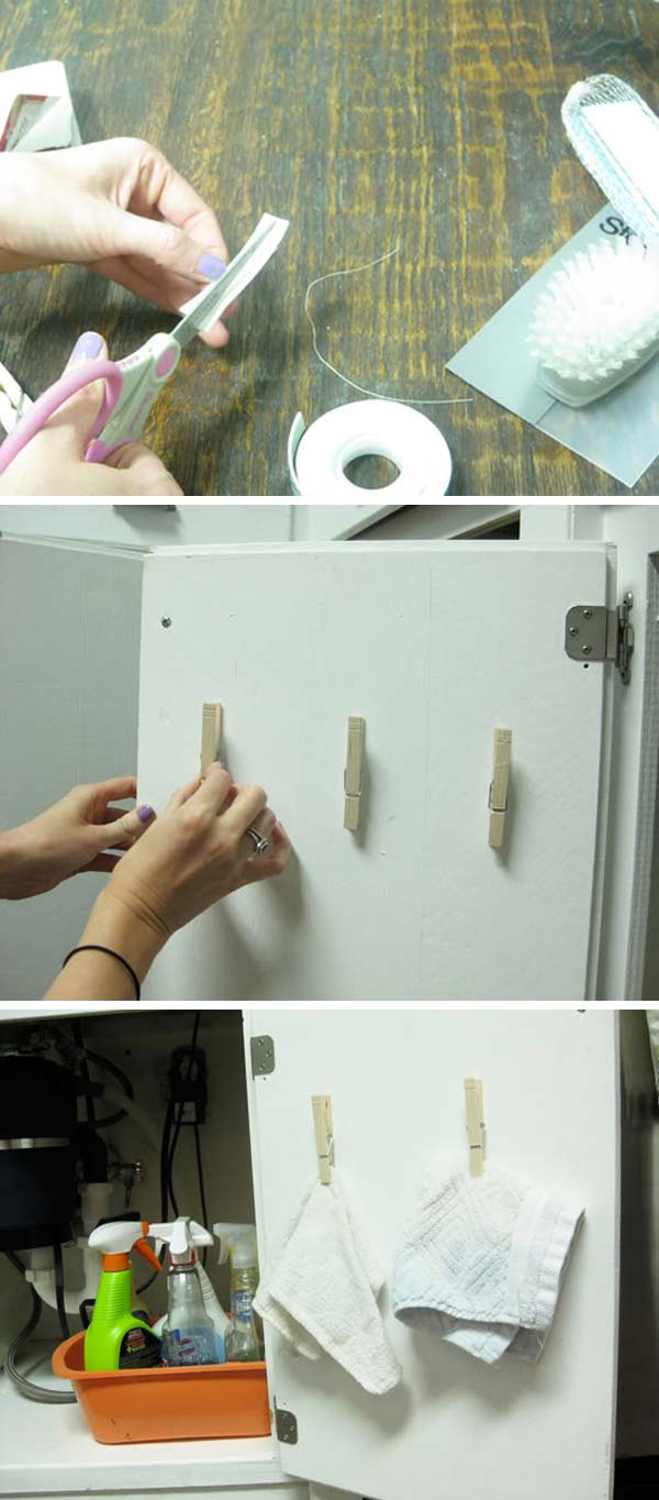 Add clothespins to the inside of a kitchen cabinet for dishtowels and rubber gloves storage.
