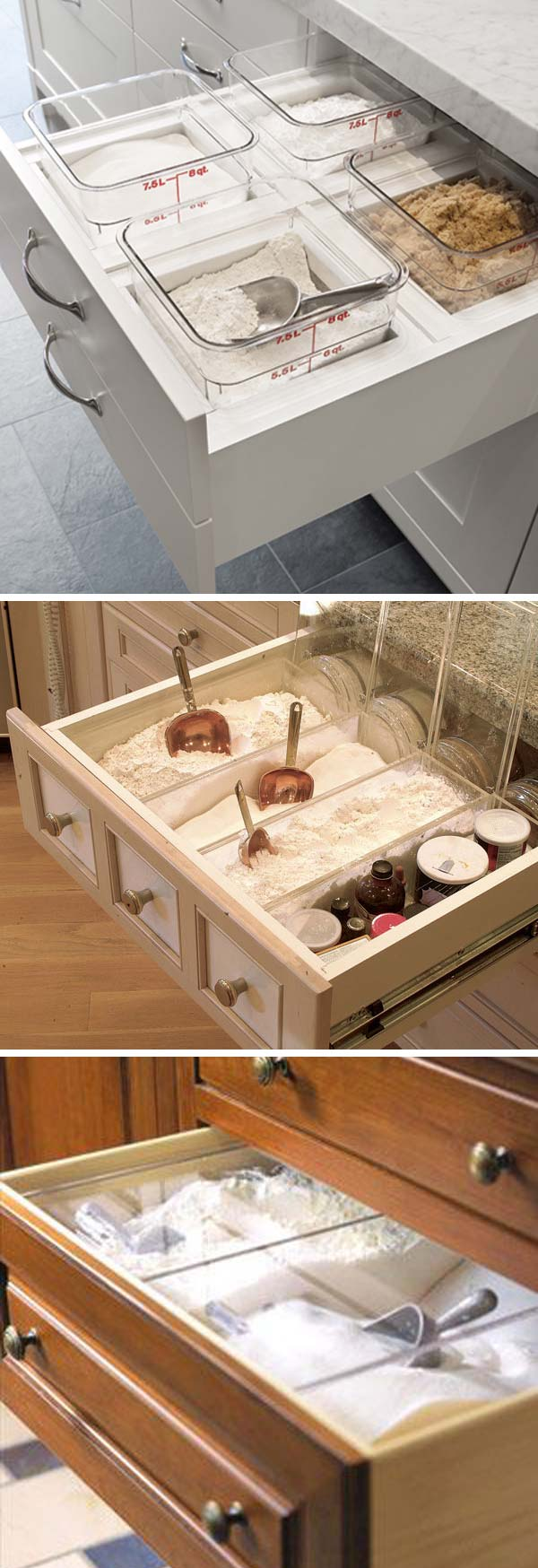 A drawer with built in flour bins.