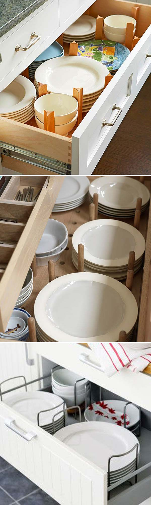 Use pegs to organize the dishes and to keep them in place.