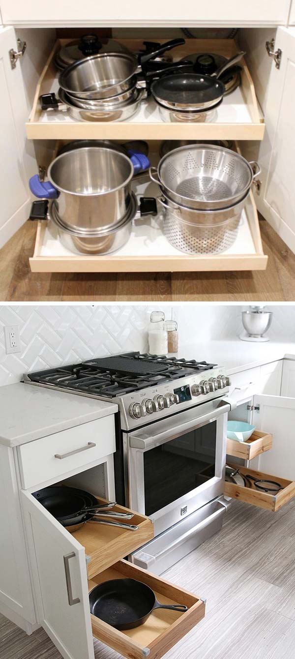 Pull out shelves allow you to access pots and pans easily.