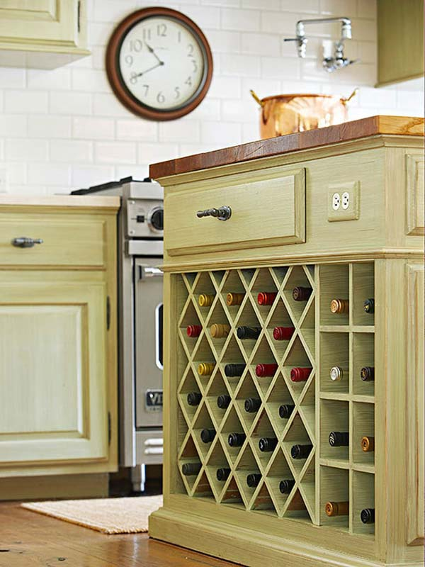 Remove an existing cabinet door and create a wine bottle holder insert.
