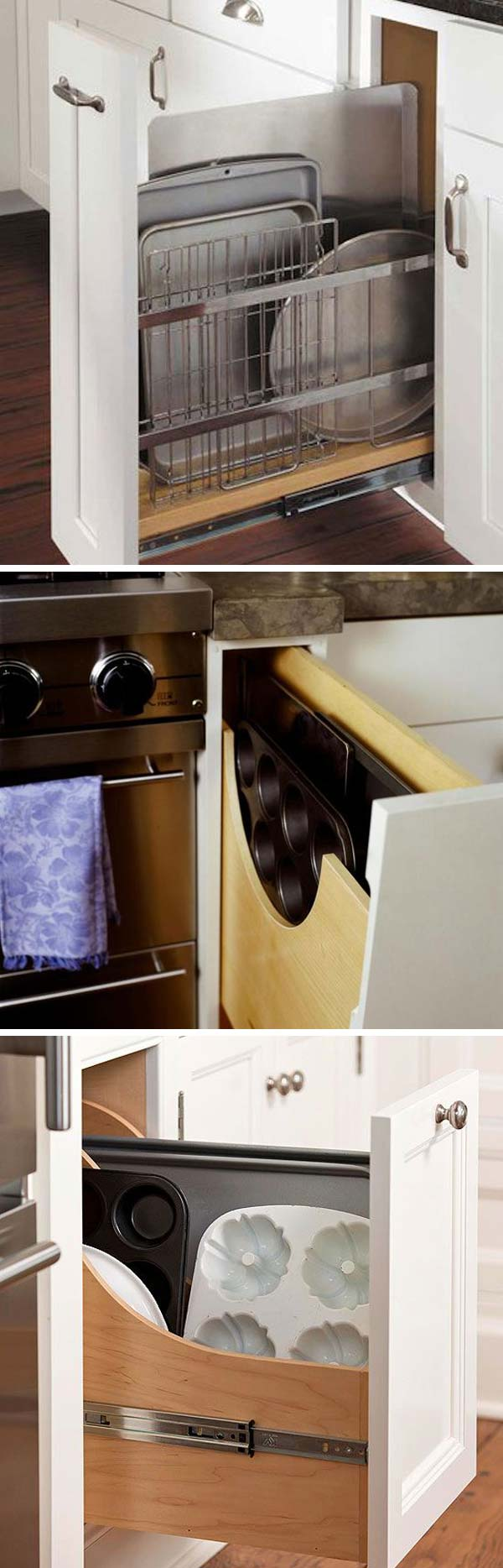 Pull out drawer for cookie sheets.