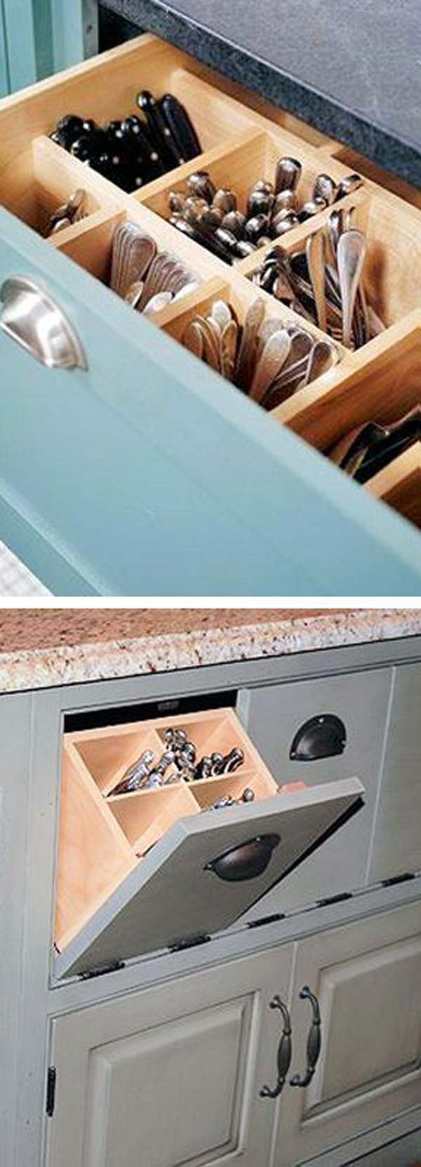 Store vertically in a deep drawer with compartments.