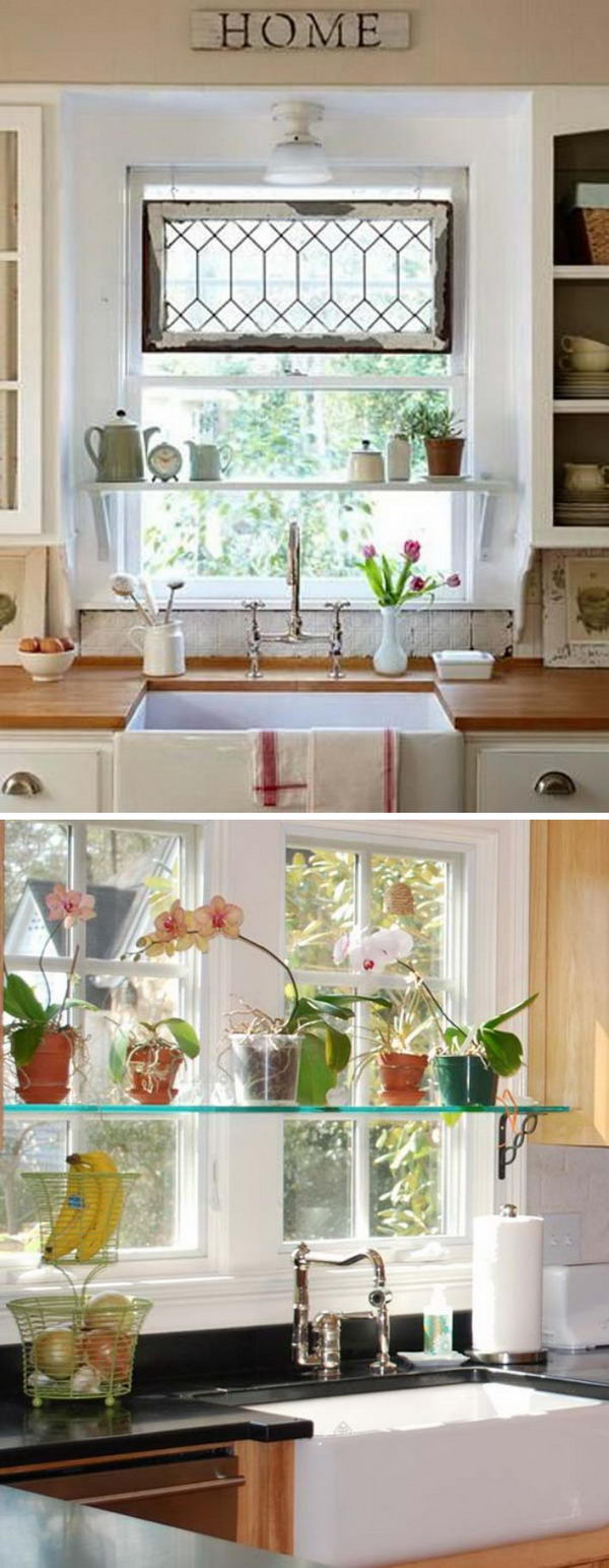 Mounting a few shelves inside your kitchen window will let you get extra surface space for storage.