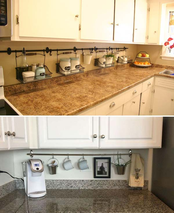 Use your backsplash as storage by hanging curtain rods and holders.