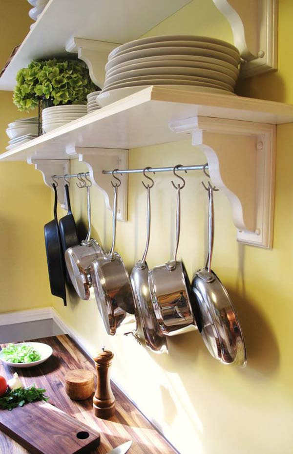 Extend the storage space by adding a kitchen shelving with pot rack.