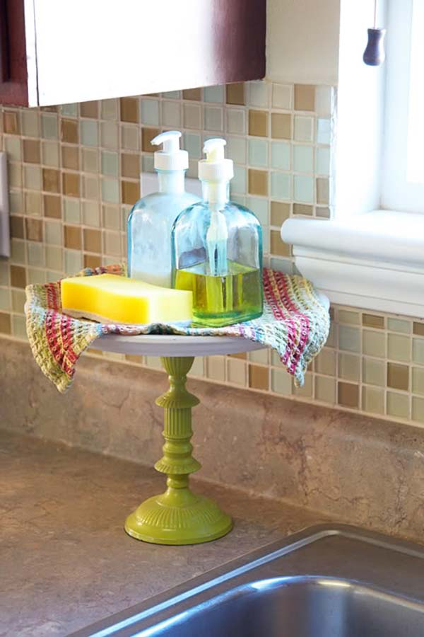 Put soaps and dishrags onto a cake stand; it will help you clear up the space around your sink.