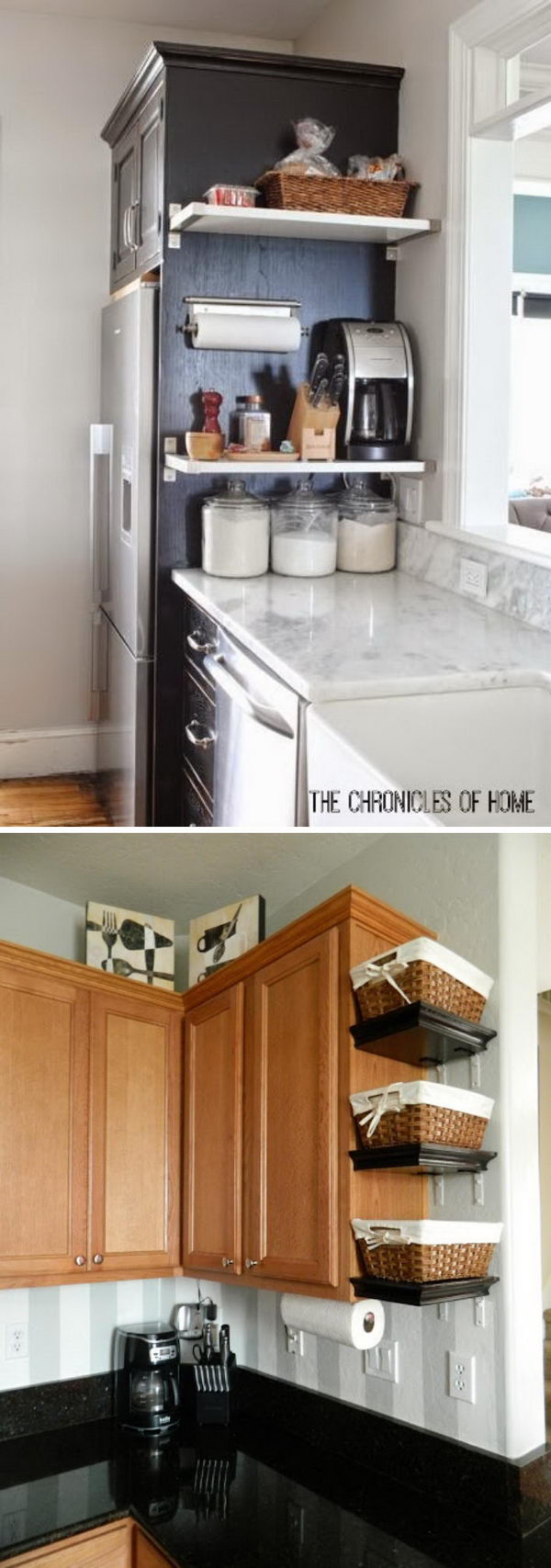 The side of cabinet would be the perfect spot for floating shelves.