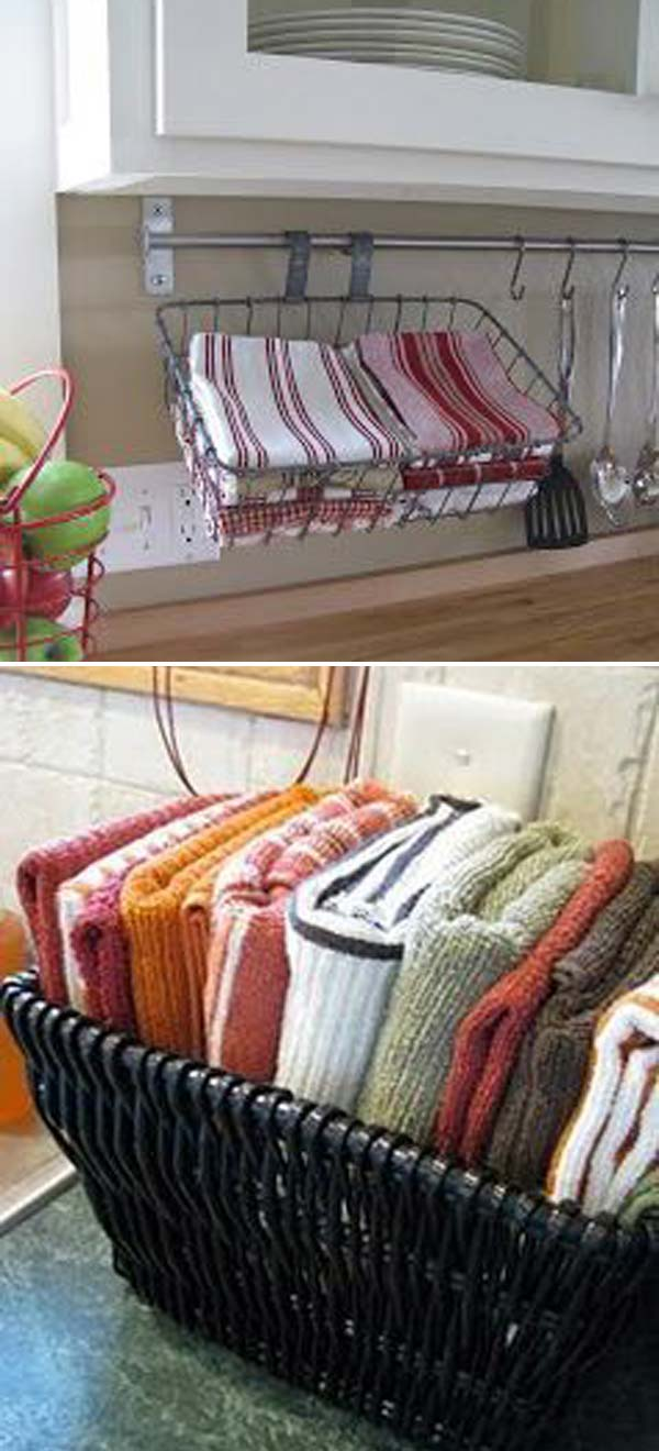 Storing dishcloths in a basket is much better than them being in the drawer, as you can reach them quickly.