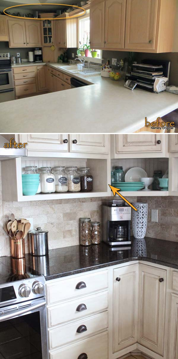 Raise the cabinets to the ceiling and add a shelf under them to squeeze out some more storage space.