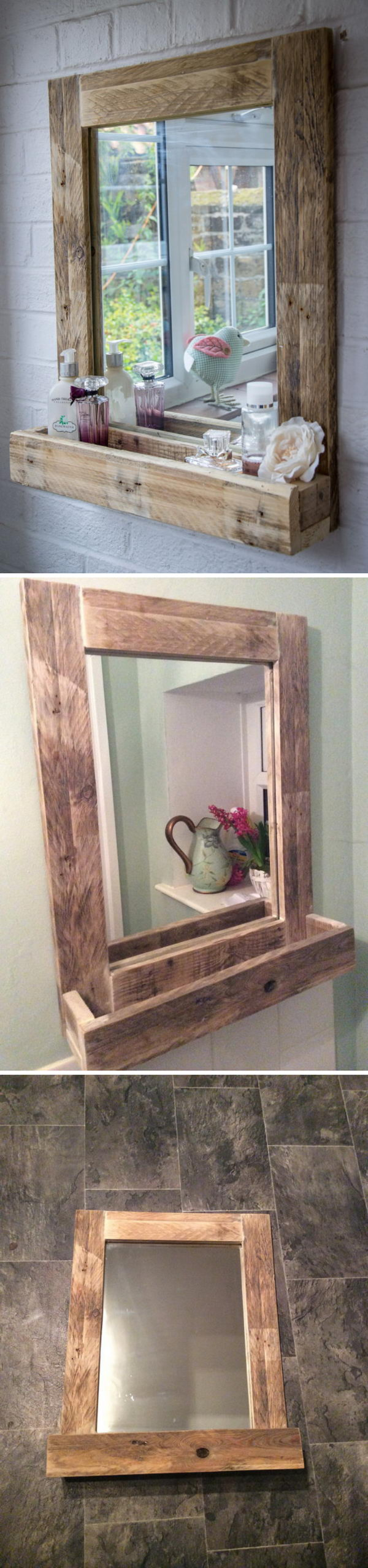 Bathroom Mirror with Storage Shelf.