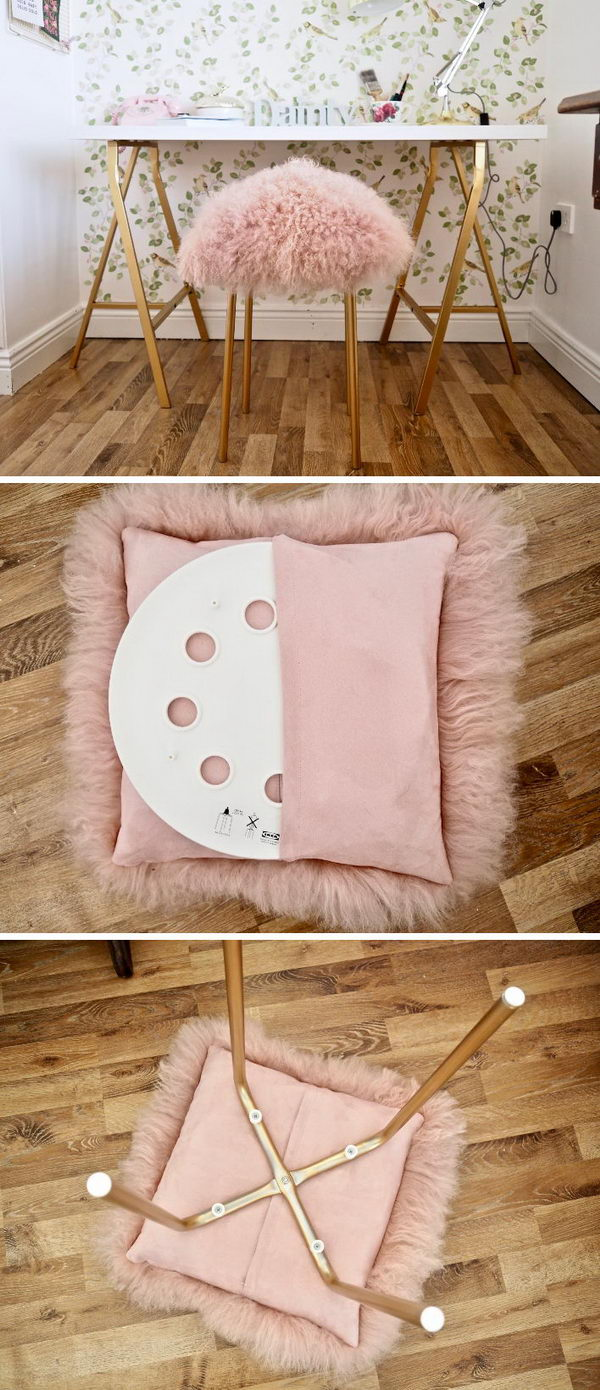 DIY Fur Stool From Ikea Stool.